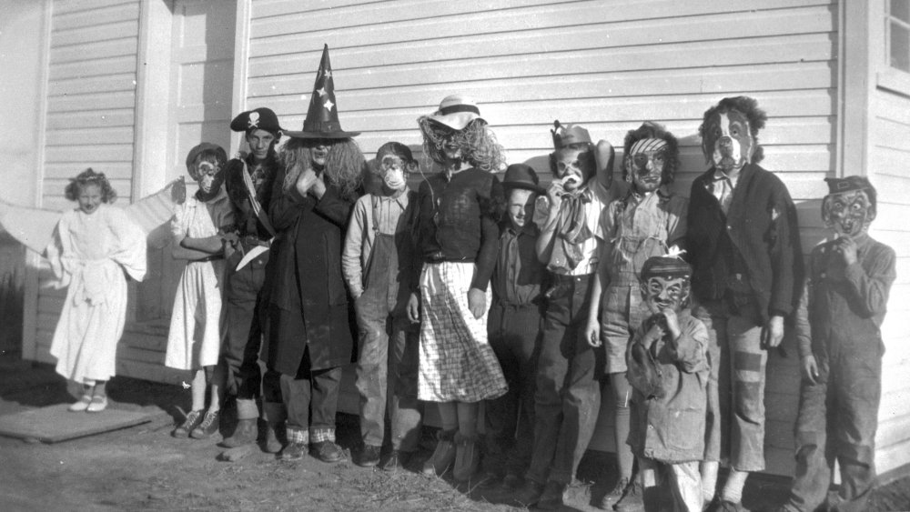 Children in Halloween costume, Alberta, Canada, 1950