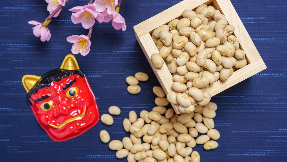Beans, demon mask for Setsubun