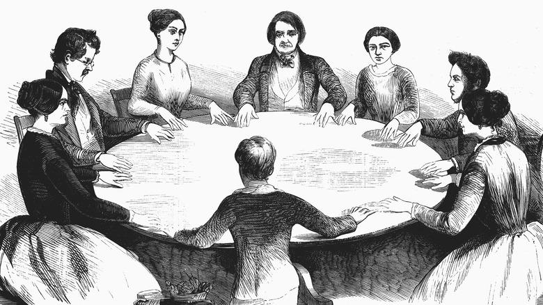 illustration of a 19th century seance