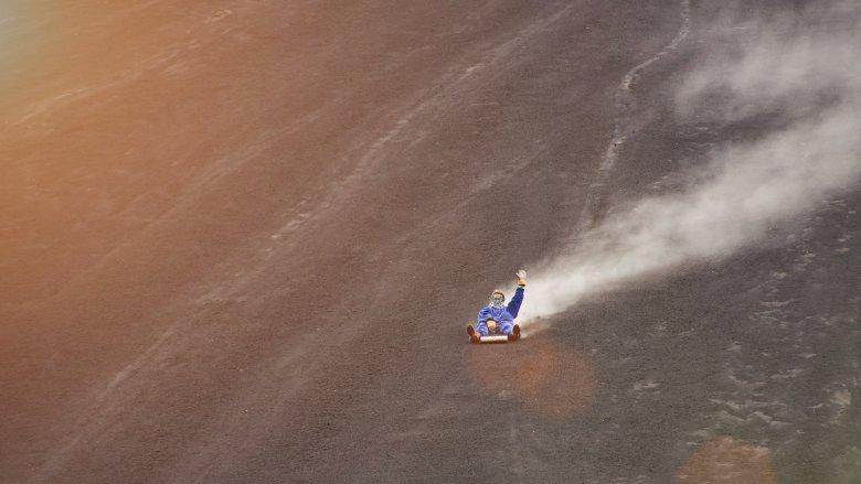 volcano sledding