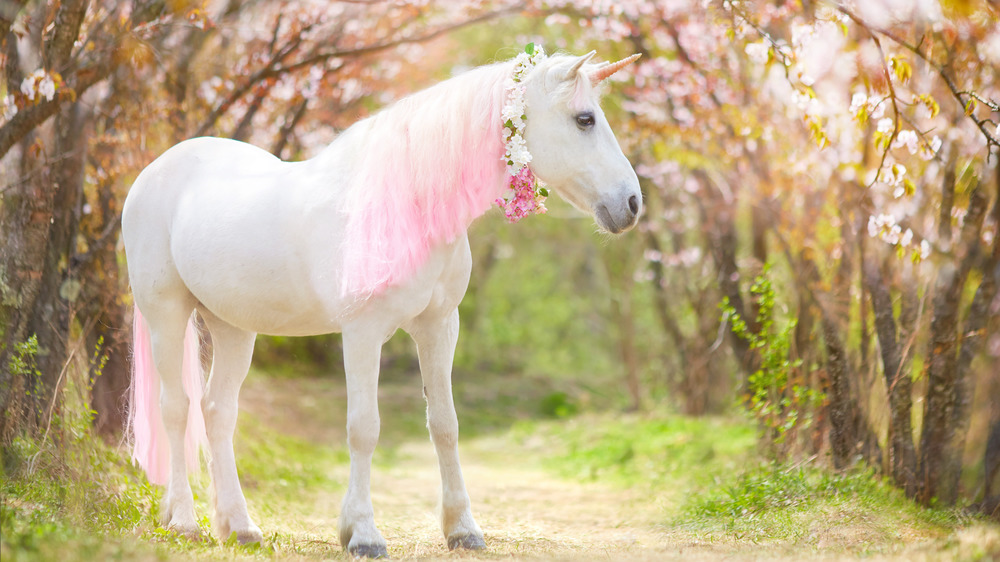 A unicorn with pink mane