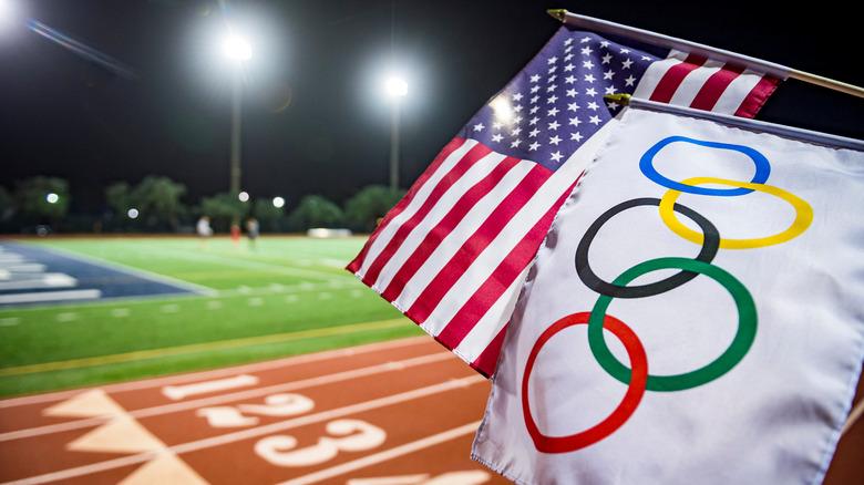 USA and Olympics flags