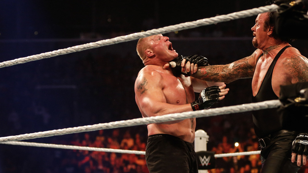 The Undertaker choking Brock Lesnar