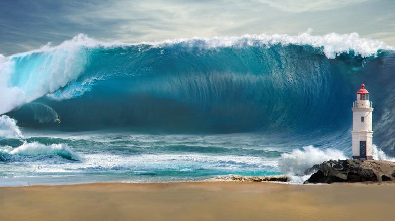 big wave from beach