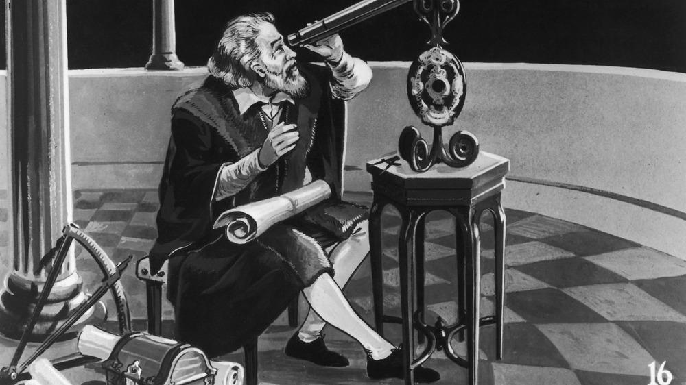 Galileo Galilei looking in telescope