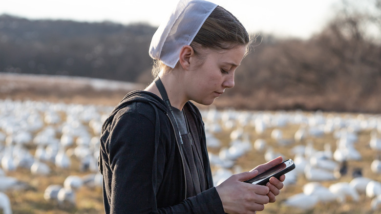 Amish girl with cell phone