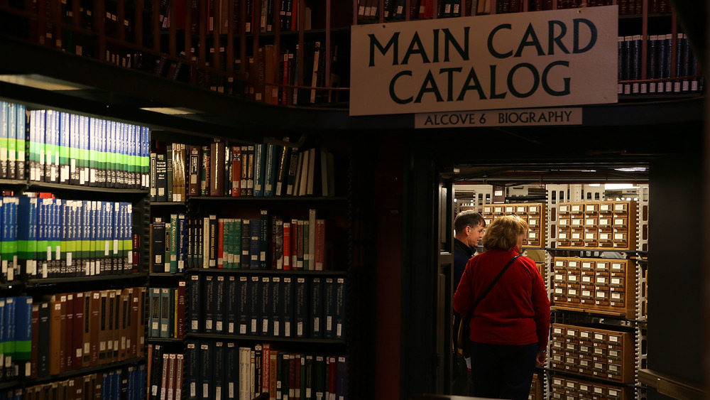 Visitors tour the Main Card Catalog Room at the Main Reading Room of the Library of Congress