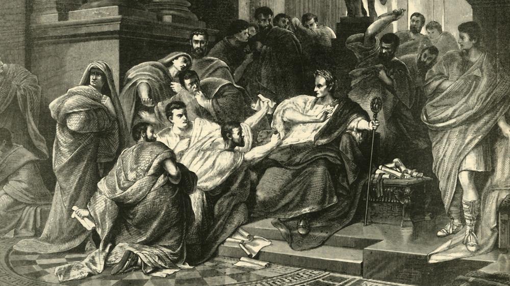 An artist's impression of the assassination of Julius Caesar