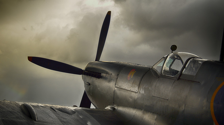 Spitfire airplane flying