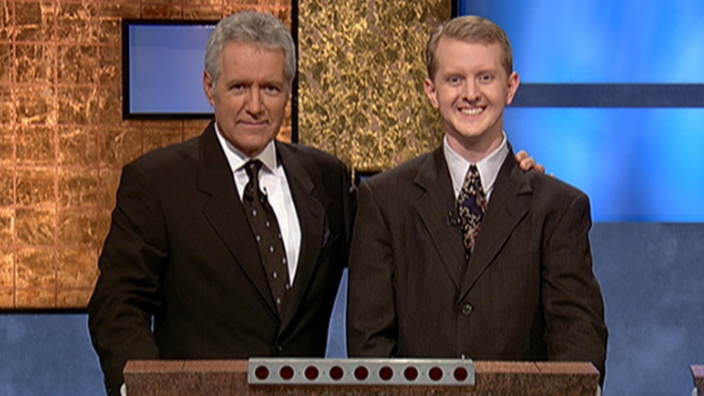Alex Trebek and Ken Jennings on Jeopardy!
