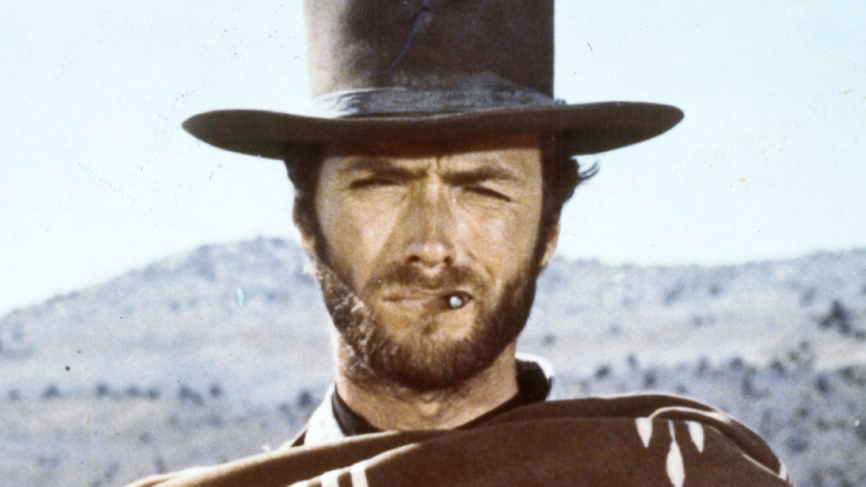 Clint Eastwood filming a Western