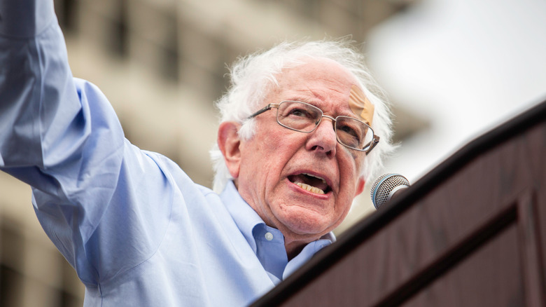 Bernie Sanders giving a speech