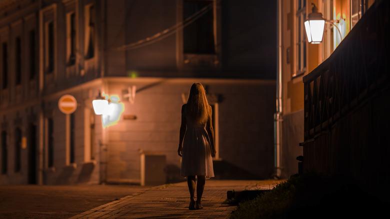 Woman alone night
