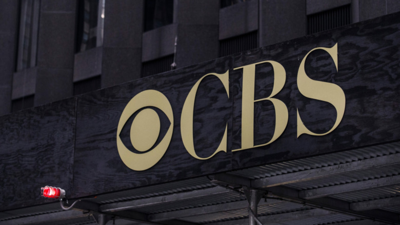 Sign on CBS headquarters in New York City.