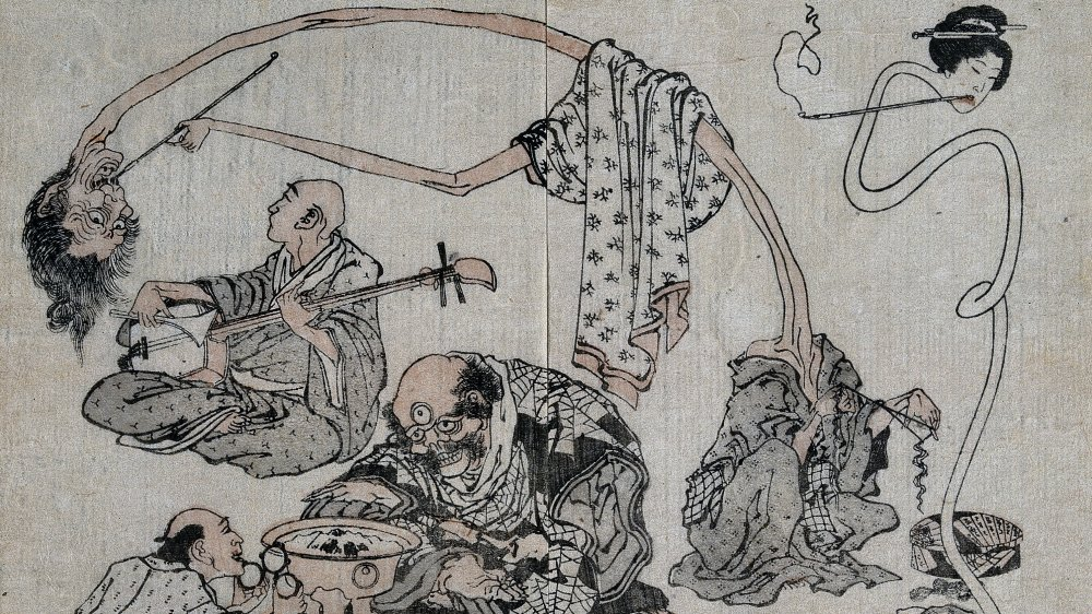A woodblock of yokai from 1834 by K. Hokusai