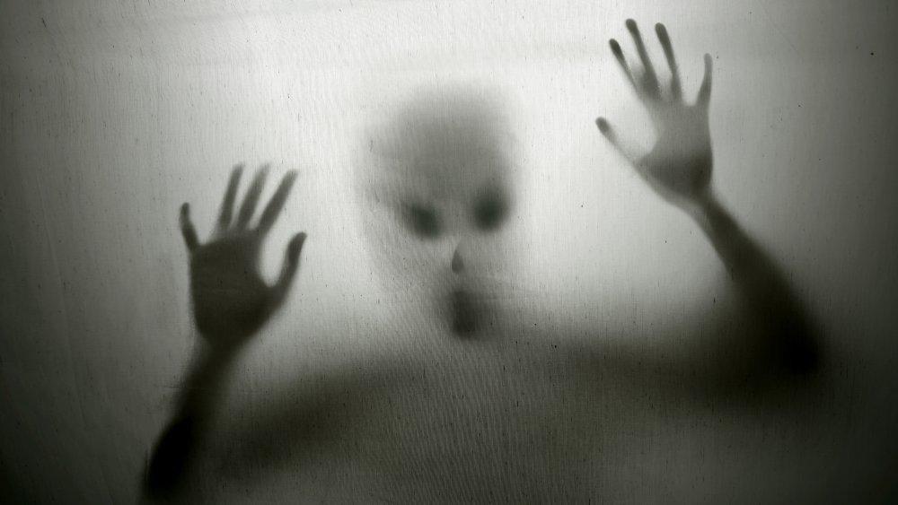 Alien peering in a window