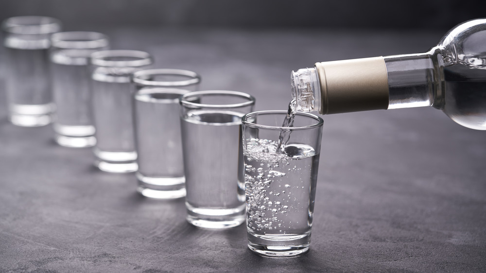 Pouring vodka shots