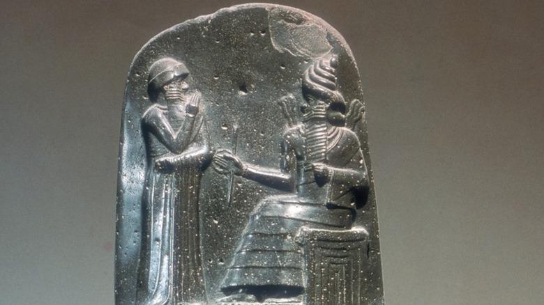 A close-up of the Code of Hammurabi
