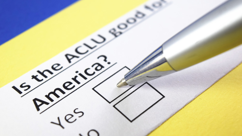 """Checklist bearing """"Is the ACLU good for America?"""""""