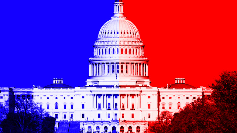 U.S. Capitol with red and blue tints