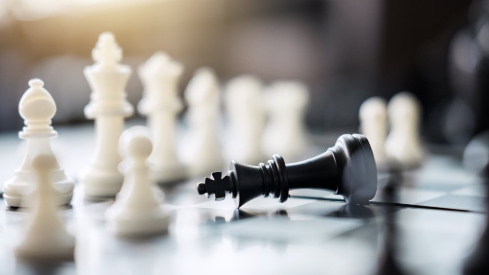 A king checkmated in a game of chess