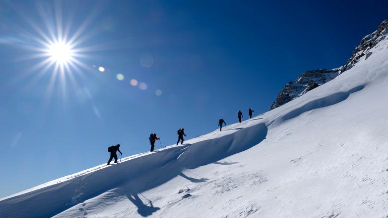 mountaineers climbing