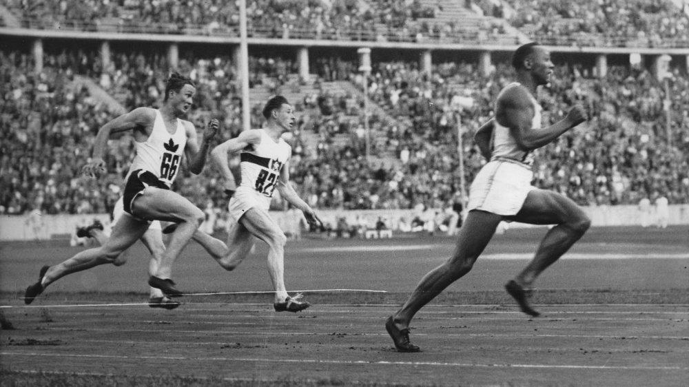Jesse Owens running in the 200m in Berlin in 1936