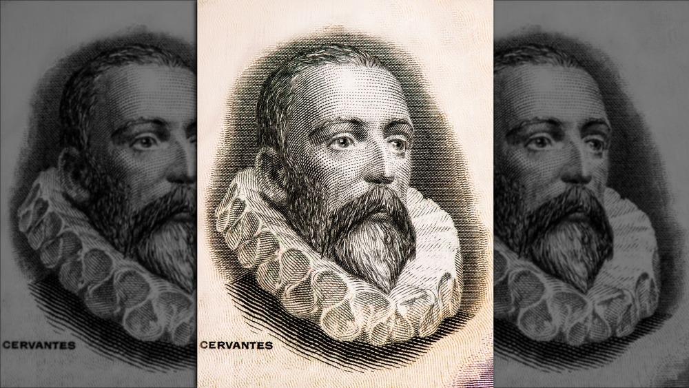 drawing of miguel de cervantes with big collar