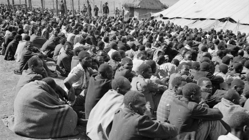 10th April 1953: Hundreds of Mau Mau prisoners being held in a compound in the uplands of Kenya.