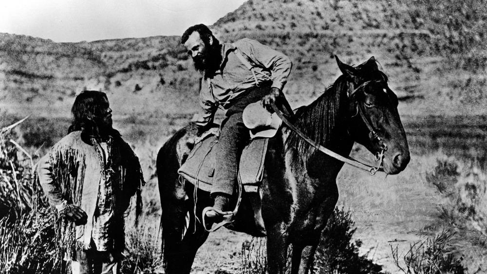 Major John Wesley Powell talking to a Paiute Native American