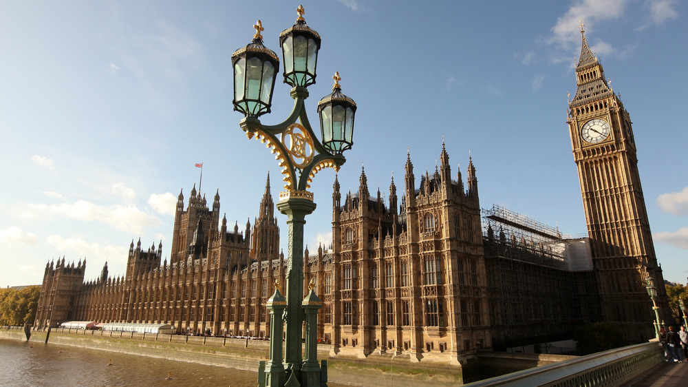 Westminster Palace in London with lamp