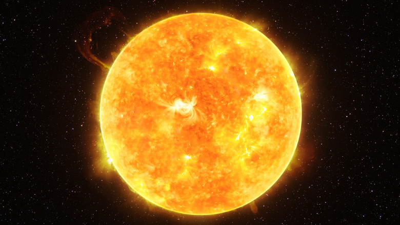 Sun with space background