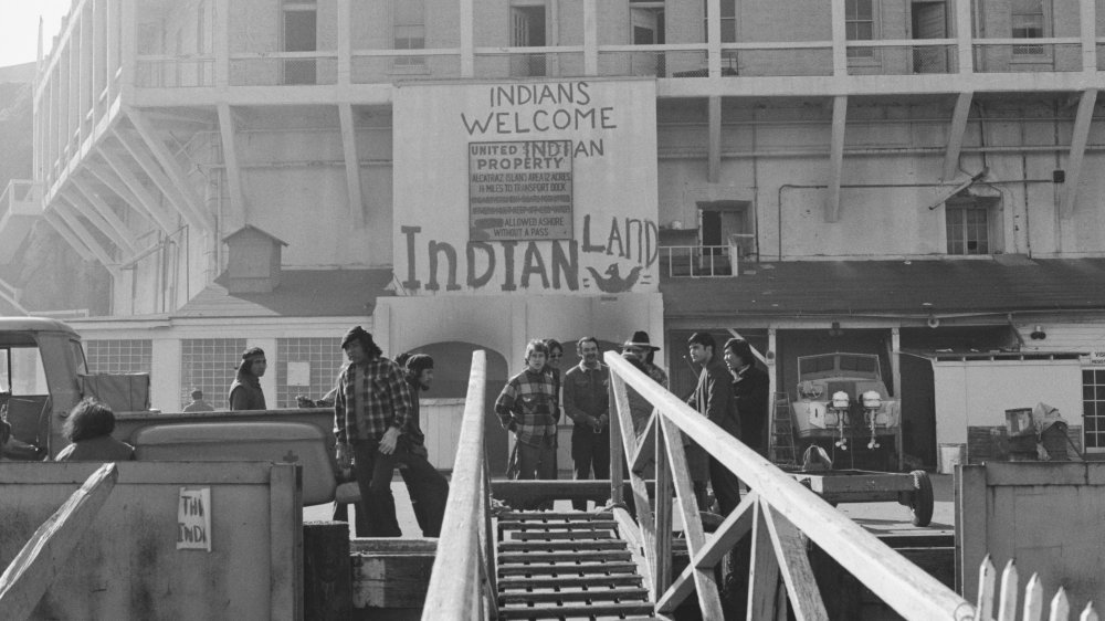 A sign reading 'Indians Welcome' to 'Indian Land' during the Occupation of Alcatraz protest on Alcatraz Island, San Francisco, December 1969.