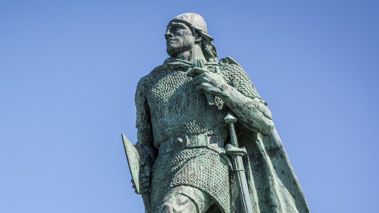 A statute of Leif Erikson in Reykjavik, Iceland