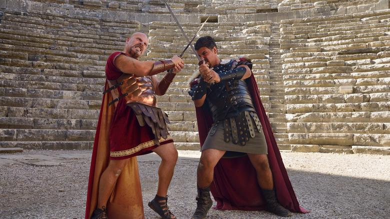 Gladiators sword fighting