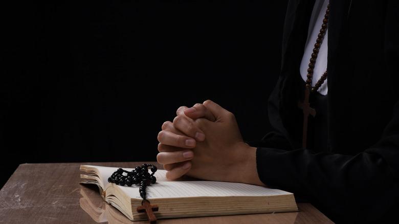 A nun in prayer