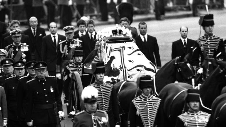 Ceremonial funeral procession for the Queen Mother