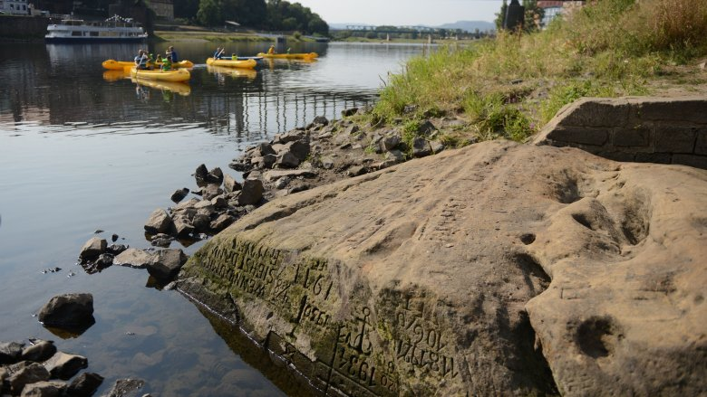 Hunger stone on the Elbe River