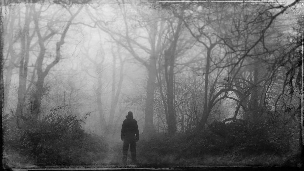 man in dark forest