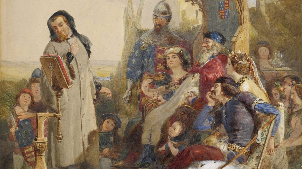 Chaucer at the Court of Edward III - Watercolour Version