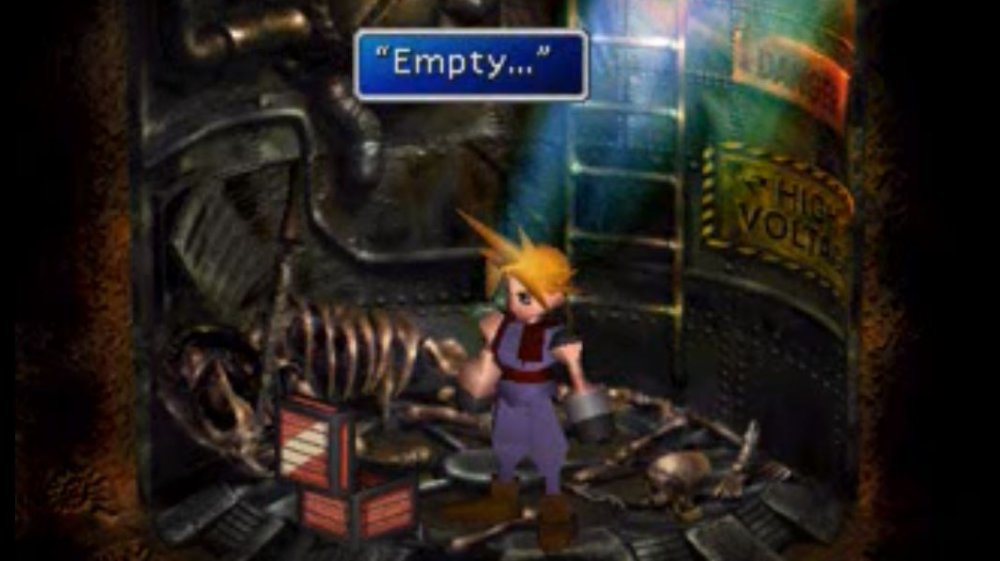 Cloud comes across the mysterious empty chest in the basement-level room in Corel Prison