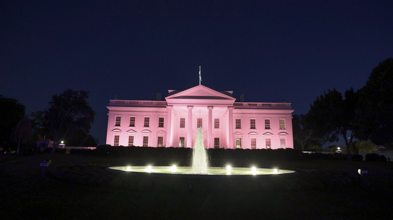 The White House lit up pink