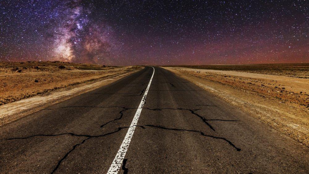 "A dark desert highway as described in ""Hotel California"""