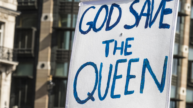 Placard with God Save the Queen