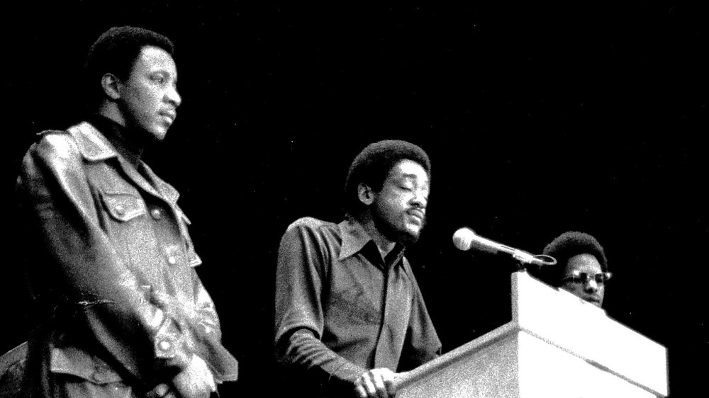 Black Panther Party Leader Bobby Seale speaking on stage on December 12, 1971