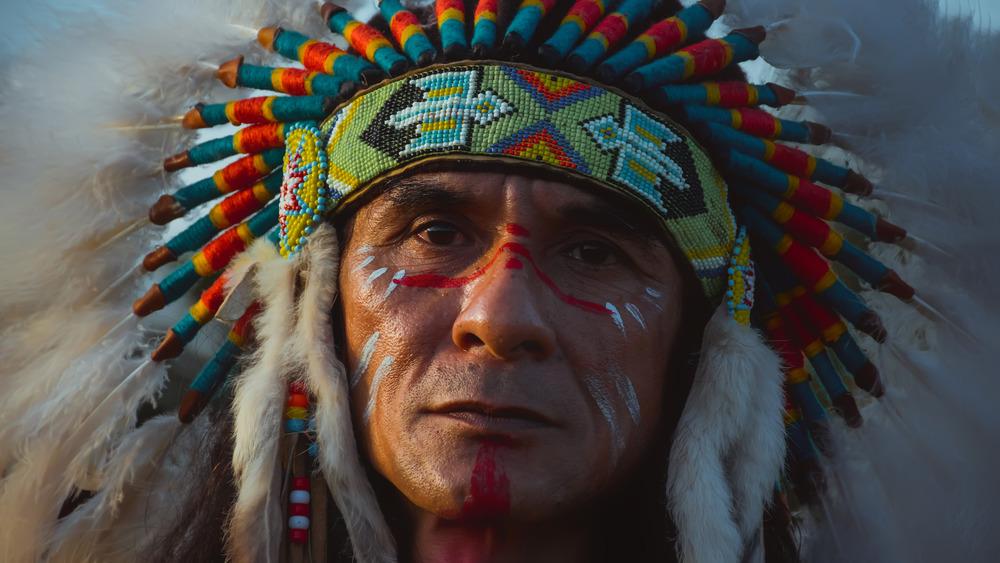 Native American in headress