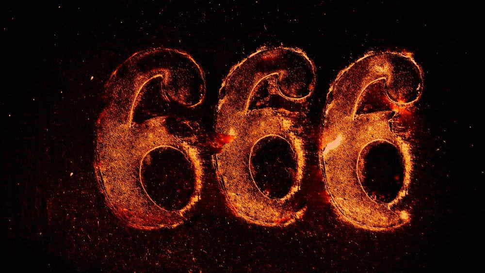 666 in fiery letters.