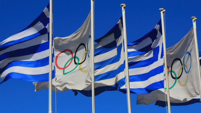 Greek and Olympic flags