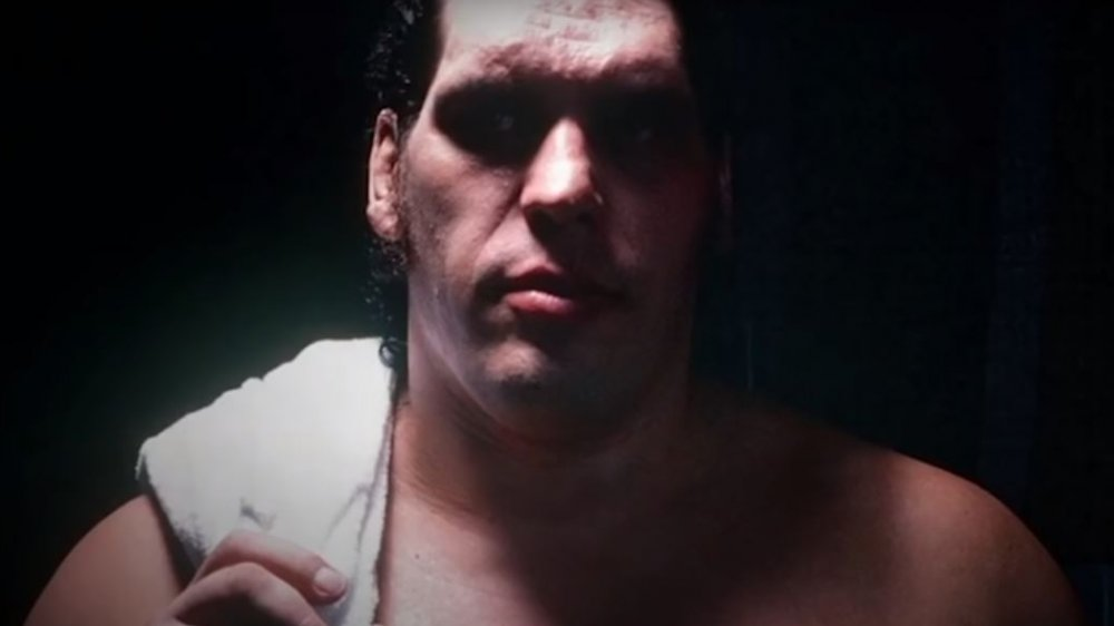 Andre the Giant poses for the camera with a towel over his shoulder