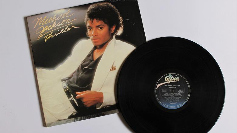 Michael Jackson's Thriller album original vinyl cover with record
